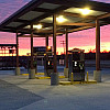 filling station with sunset